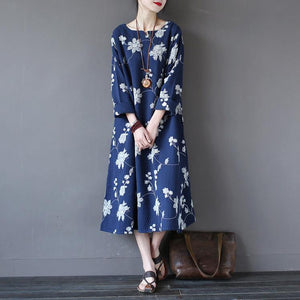 DIY linen cotton Soft Surroundings Fitted pockets Outfits blue embroidery loose Dresses