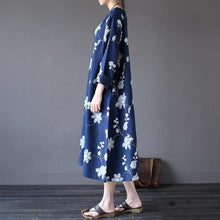 Load image into Gallery viewer, DIY linen cotton Soft Surroundings Fitted pockets Outfits blue embroidery loose Dresses