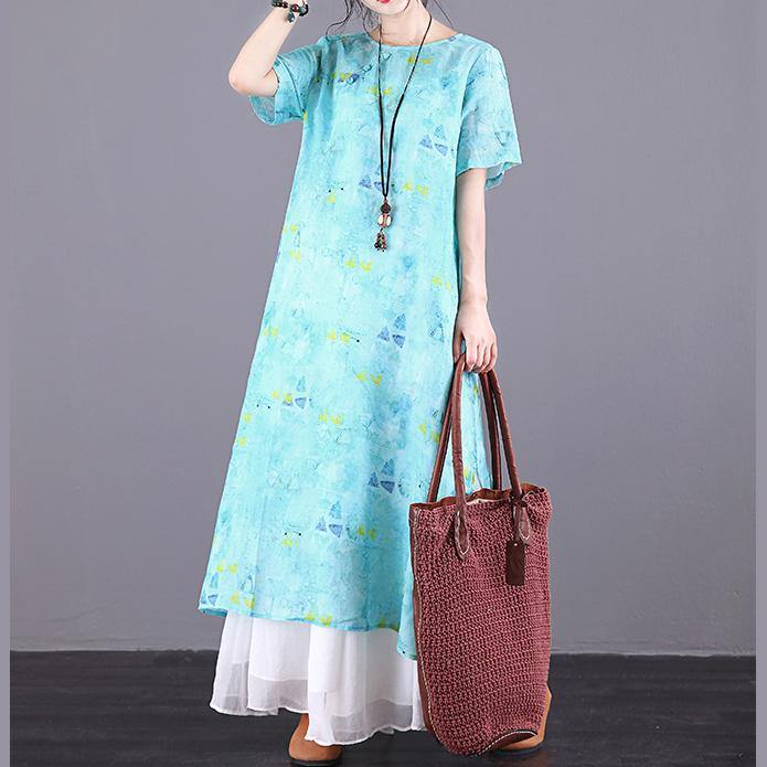 DIY o neck Button Down linen clothes For Women Work Outfits blue print Dress summer