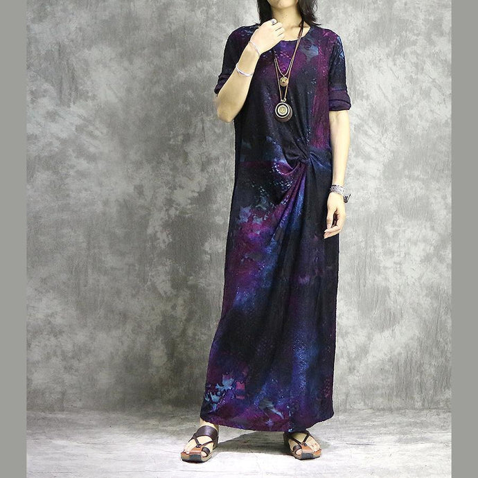 DIY o neck blended outfit Casual Shape purple prints long Dress summer