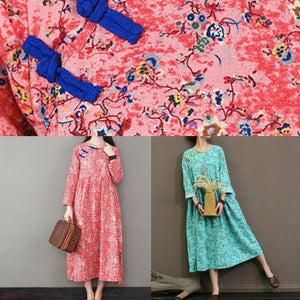 DIY o neck cotton summer quilting dresses Shape pink floral cotton robes Dresses