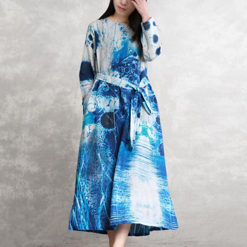 DIY o neck linen clothes stylish Work blue white print long Dresses spring