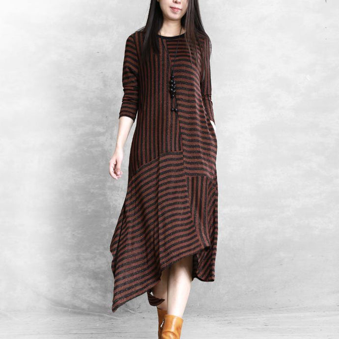 DIY o neck patchwork cotton clothes For Women Neckline chocolate striped Maxi Dresses fall