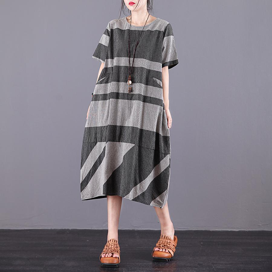 DIY o neck pockets cotton clothes Women Sewing gray striped  long Dress summer