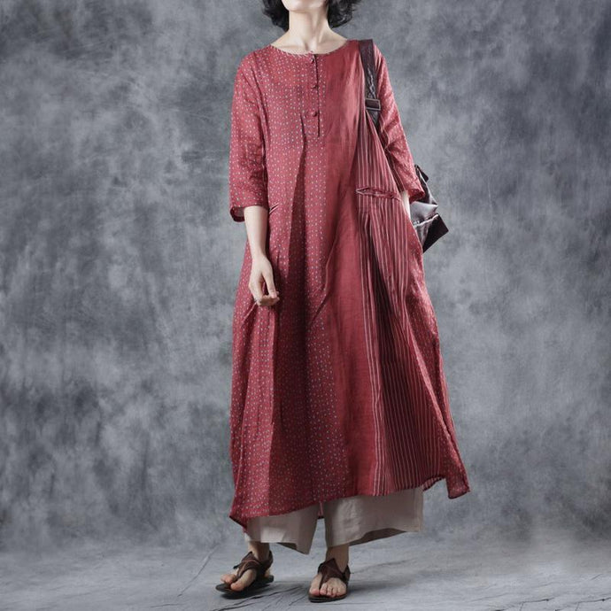 DIY o neck pockets linen Long Shirts Tutorials red dotted Dresses summer