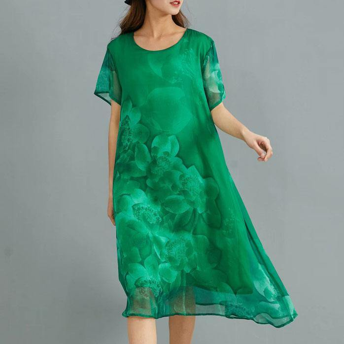 DIY o neck silk clothes For Women Sewing green print Dress summer