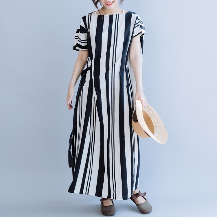 DIY o neck tie waist cotton dress Work black striped loose Dresses summer