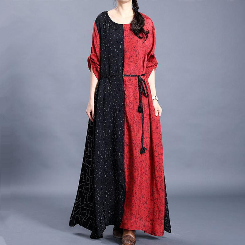 DIY o neck tunic top design black patchwork red Plus Size Dress
