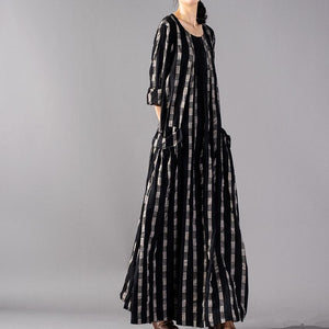 DIY o neck wrinkled linen dresses plus size Shirts black Plaid Maxi Dress spring