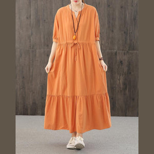 DIY orange dresses v neck wrinkled robes Dresses
