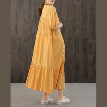 Load image into Gallery viewer, DIY orange dresses v neck wrinkled robes Dresses