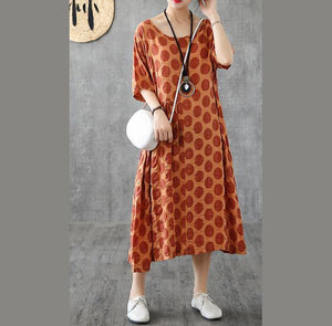 DIY patchwork o neck cotton tunic top Wardrobes brown dotted long Dresses summer
