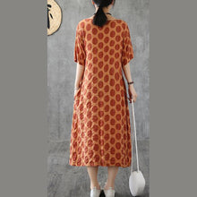 Load image into Gallery viewer, DIY patchwork o neck cotton tunic top Wardrobes brown dotted long Dresses summer