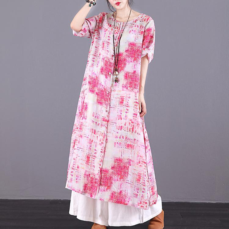 DIY red print linen clothes For Women o neck Button Down long summer Dresses