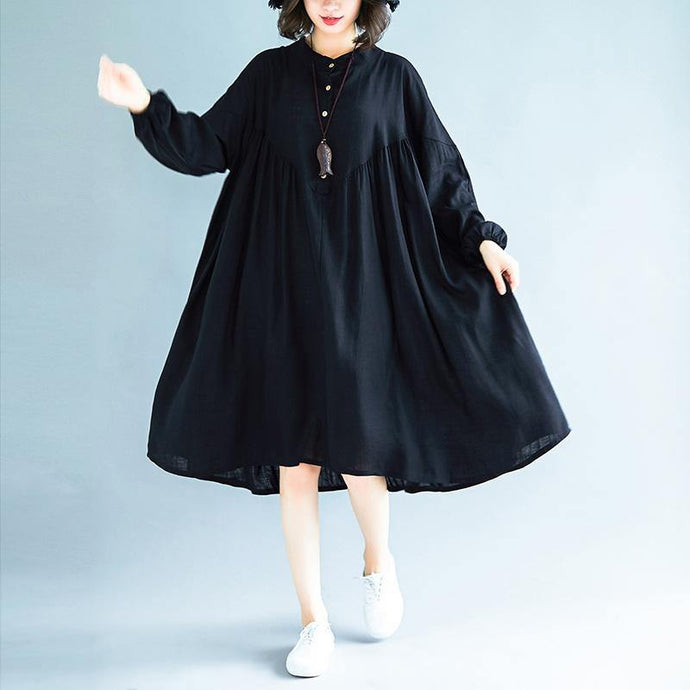DIY stand collar exra large hem linen dresses Indian Catwalk black Midi Dresses