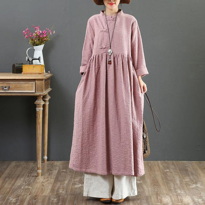 DIY stand collar linen Wardrobes pattern pink long sleeve Dresses fall