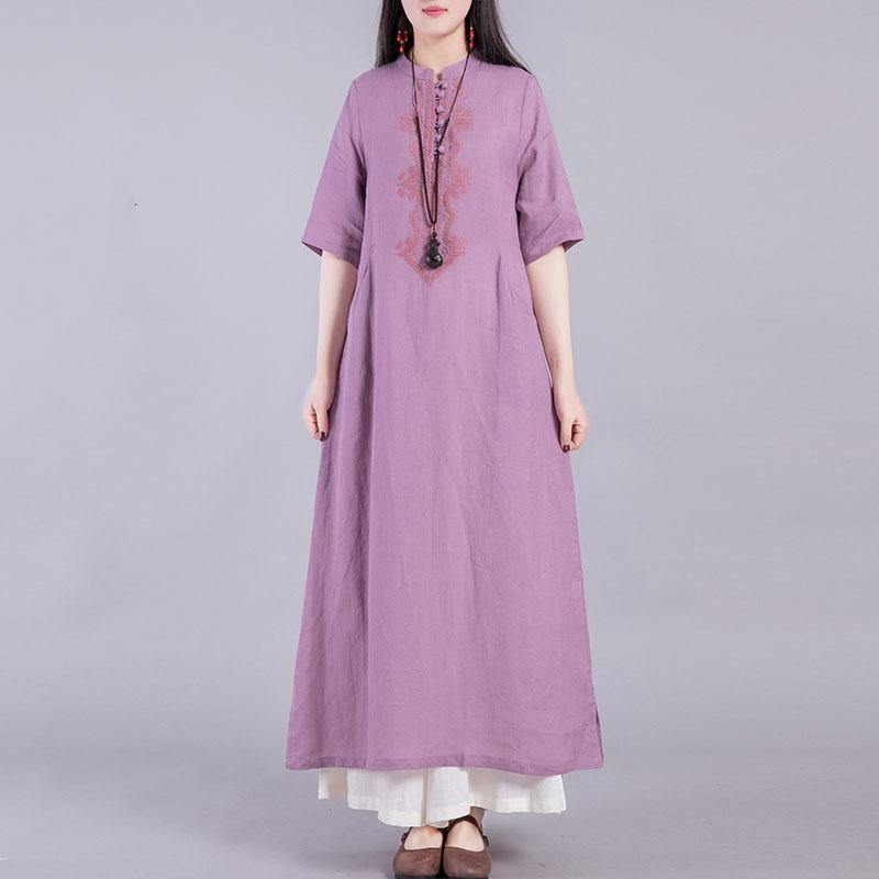 DIY stand collar linen clothes Outfits purple Dresses summer