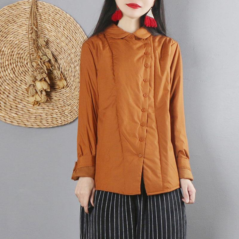 DIY turn-down collar thick Button Down for women brown daily blouses