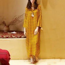 Load image into Gallery viewer, DIY v neck Batwing Sleeve summer clothes oragne dotted Plus Size Dress