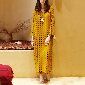 DIY v neck Batwing Sleeve summer clothes oragne dotted Plus Size Dress