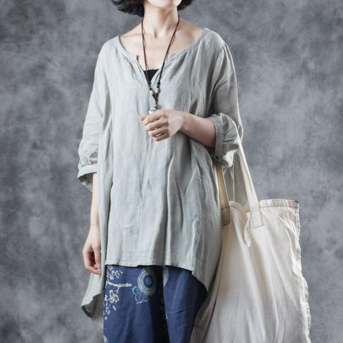 DIY v neck half sleeve linen clothes Photography green top summer