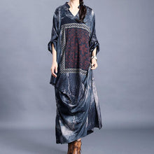 Load image into Gallery viewer, DIY v neck patchwork quilting dresses Inspiration dark gray print Maxi Dress