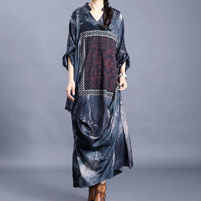 DIY v neck patchwork quilting dresses Inspiration dark gray print Maxi Dress