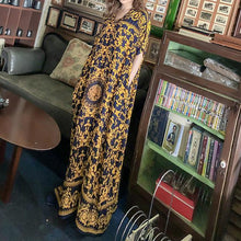 Load image into Gallery viewer, DIY v neck pockets Tunics pattern yellow print long Dresses