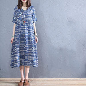 DIY v neck pockets linen Robes blue striped Dress summer