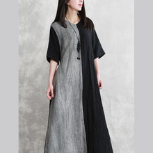 Laden Sie das Bild in den Galerie-Viewer, DIY v neck tie waist linen Robes Runway black bagy Dress summer
