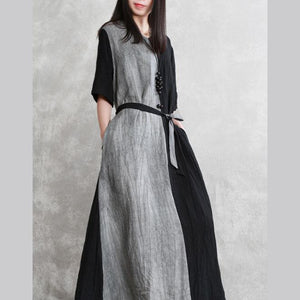 DIY v neck tie waist linen Robes Runway black bagy Dress summer