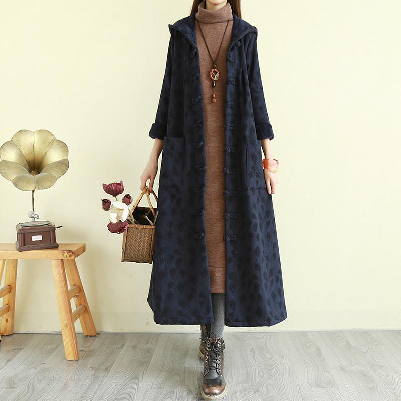 DIY warm Fine winterclothes For Women navy hooded baggy women coats