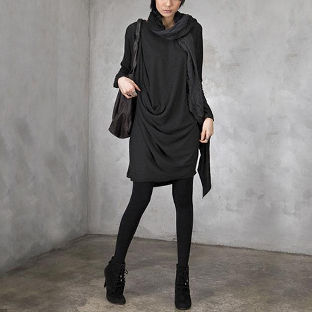 DIY wrinkled Cotton o neck dresses Inspiration black Dress