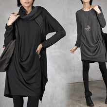 Load image into Gallery viewer, DIY wrinkled Cotton o neck dresses Inspiration black Dress