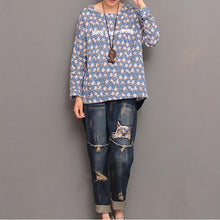Load image into Gallery viewer, Daisy embroideried cotton top plus size women blouse shirt