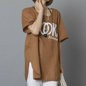 Dark Khaki letter print women linen shirt summer oversize linen top blouse
