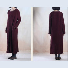 Load image into Gallery viewer, Dark burgundy pleated linen maxi dress long sleeve long dresses
