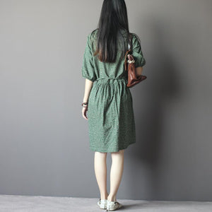 Dark green floral maxi dress tunic sundress half sleeve