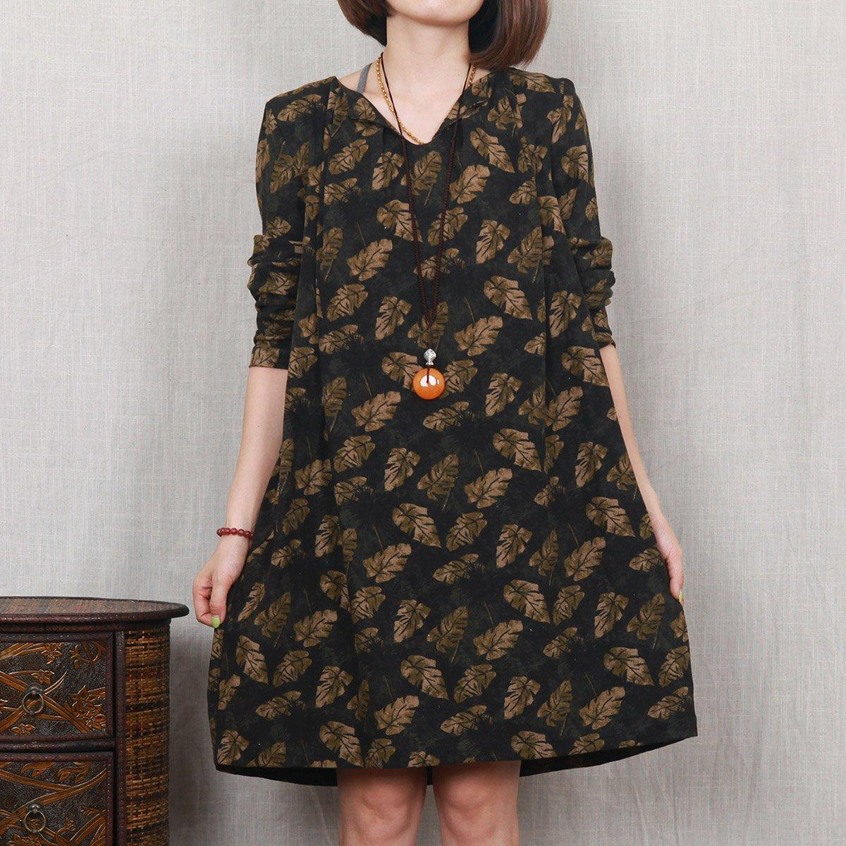 Dark green leaf print floral linen dress plus size spring dress