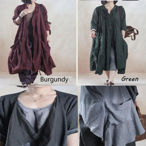 Dark green oversize summer linen cardign coat long women coat linen sundress - My dream