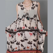 Load image into Gallery viewer, Dark kahki floral sundress sleeveless silk cotton summer dress- mirror of the lake
