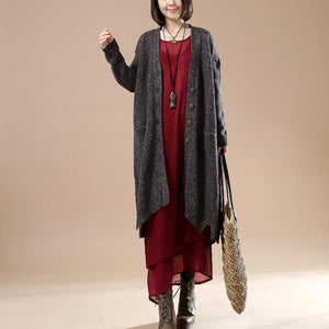 Deep gray plus size knit coats sweater cardigans woman