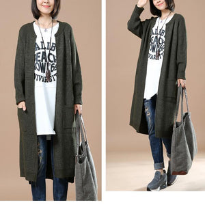 Deep green plus size knit cardigans long sweaters