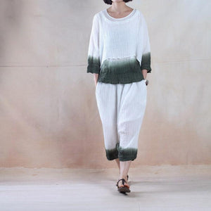 Deep in the clouds - pleated linen women top and pants set minimalist clothing