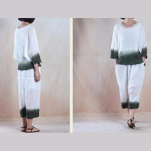 Load image into Gallery viewer, Deep in the clouds - pleated linen women top and pants set minimalist clothing