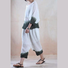 Laden Sie das Bild in den Galerie-Viewer, Deep in the clouds - pleated linen women top and pants set minimalist clothing