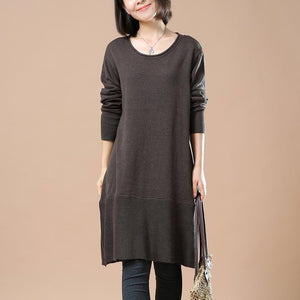 Deep khaki sweaters casual loose winter dresses