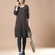 Laden Sie das Bild in den Galerie-Viewer, Deep khaki sweaters casual loose winter dresses