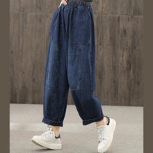 Load image into Gallery viewer, Denim blue autumn elastic waist casual trousers