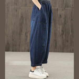 Denim blue autumn elastic waist casual trousers